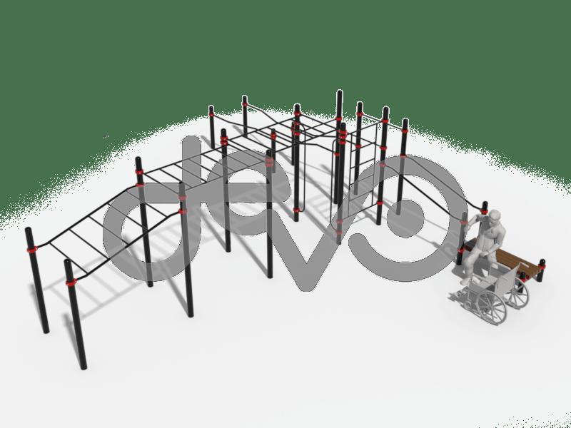 Рукоход в подъем, рукоход классичесий 2-х уровневый, вертикальные поручни для колясочников, шведская стенка, скамья горизонтальная, брусья в подъем, изогнуто-горизонтальные и изогнутые разноуровневые брусья