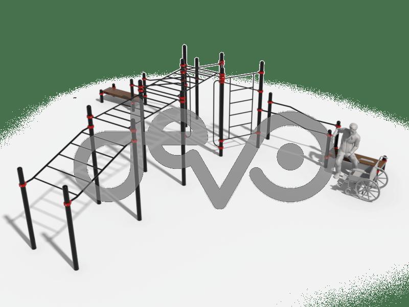 Рукоход в подъем, рукоход классический двухуровневый, вертикальные поручни для колясочников, 2 скамьи, брусья в подъем, брусья разноуровневые, шведская стенка
