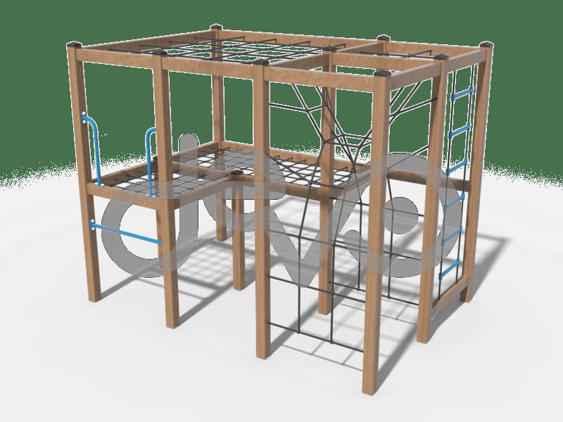 Спортивный комплекс с канатной лестницей и элементами для лазания