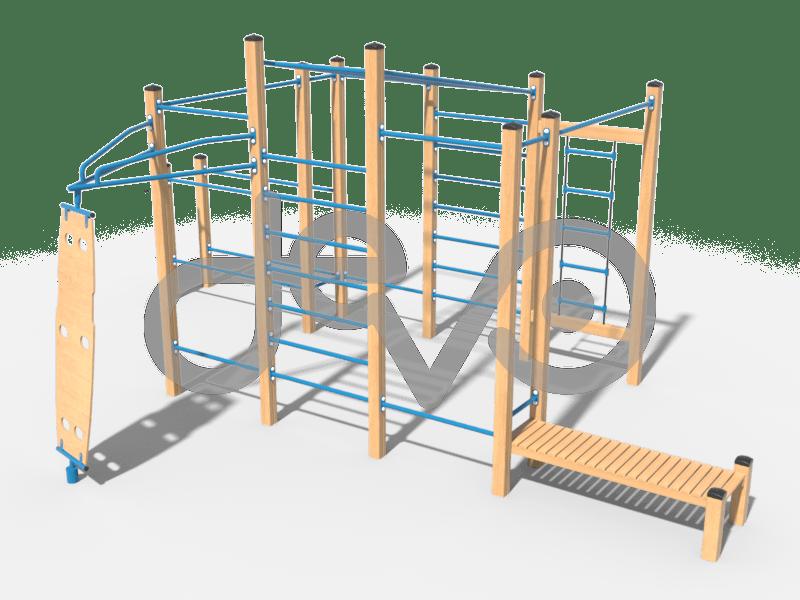 Воркаут комплекс из 4 турников, прямой скамьи, 2 шведских стенок, рукохода в подъем, 5 перекладин для отжиманий, брусьев, спиннера и веревочной лестницей