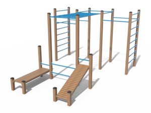Воркаут комплекс из 7 турников, 2 шведских стенок, рукохода, наклонной и прямой скамьи, 2 перекладин для отжиманий