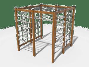 Спортивный комплекс из 3 шведских стенок, канатной лестницы, турника и канатных элементов для лазания